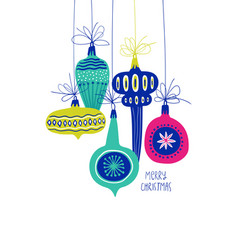 greeting card with christmas tree toy decorations vector image