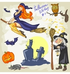 Halloween Witches - 2 Hand drawn collection vector