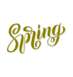 hand drawn lettering spring with shdow and vector image