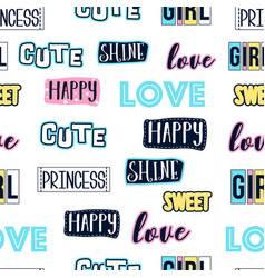 hand writing lettering print design seamless vector image