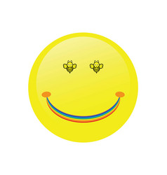Happy face with the bees eyes and yellow color vector