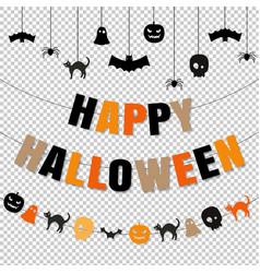 Happy halloween set transparent background vector