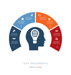 head lightbulb brain conceptual idea infographic vector image