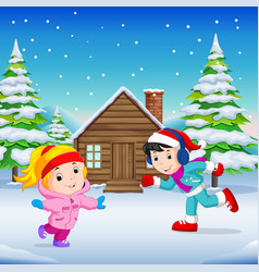 In the winter kids play in the snow very joyfully vector