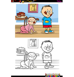 Kids with cake cartoon coloring book vector