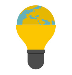 light bulb and planet earth icon isolated vector image