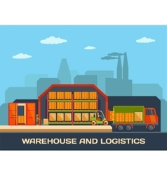 logistics and warehouse building with trucks vector image