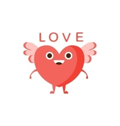 Love And Winged Heart Word And Corresponding vector image