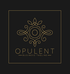 Luxurious letter o logo with classic line art vector