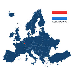 Map of europe with highlighted luxembourg vector