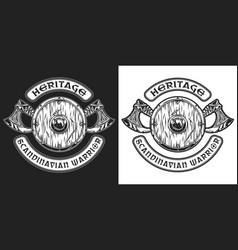 medieval scandinavian warrior weapon badge vector image