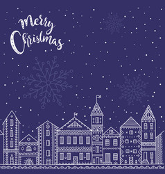 merry christmas card with houses in city vector image