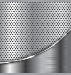 Metal perforated background with chrome wave vector