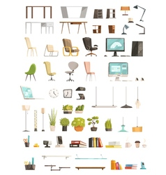 Modern Office Accessories Cartoon Set vector