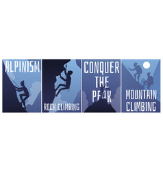 Mountain climbing and alpinism banners backgrounds vector