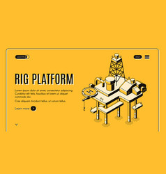 Offshore oil platform isometric web banner vector