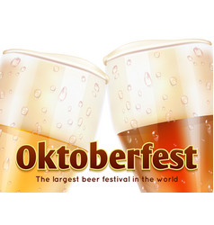 oktoberfest banner with realistic glasses of beer vector image