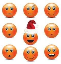 orange smiley faces vector image