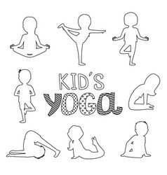 outline kids yoga poses isolated on white vector image