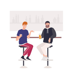 pair happy friends sitting on stools at bar vector image