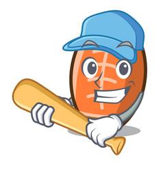 playing baseball rugby ball character cartoon vector image