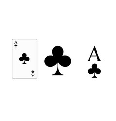 playing card ace clubs for printing vector image