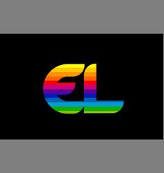 rainbow color colored colorful alphabet letter el vector image
