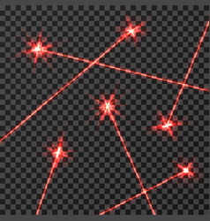 Red laser beams light effect isolated on vector