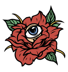 Rose flower with all seeing eye vector