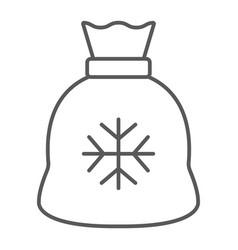 santa bag thin line icon christmas and holiday vector image