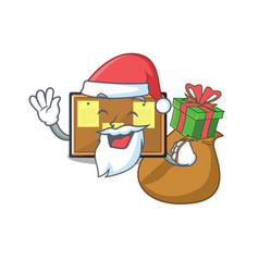 Santa with gift toy bulletin board on cartoon vector