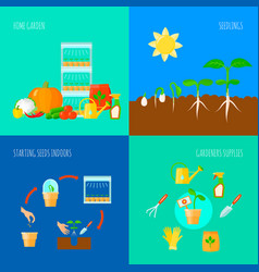 Seedling concept icons set vector