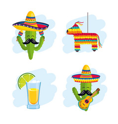 set mexican traditional decoration to event vector image