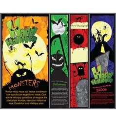 Set of 4 vertical Halloween banners in different vector image