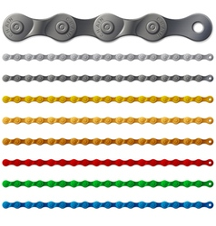 Set of colorful metal bicycle chain isolated on vector