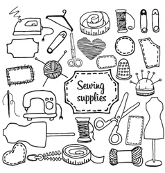 Sewing accessories Doodle vector