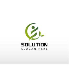 Solution logo nature solution design creative vector