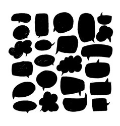speech bubbles dry paint brushstrokes set vector image