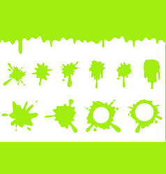 Spill green slime splash flowing dripping splatter vector