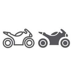 Sportbike line and glyph icon transport and drive vector
