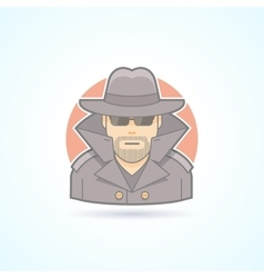 Spy secret service agent detective icon Avatar vector image