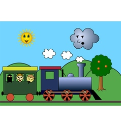 Steam train on road vector