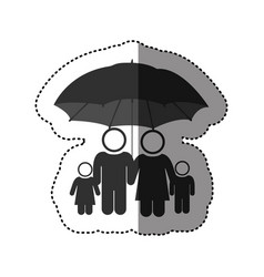 sticker of black pictogram of umbrella protecting vector image