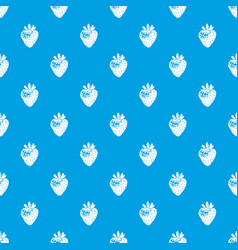 strawberry pattern seamless blue vector image