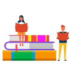 students reading books online library textbooks vector image