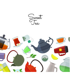 tea kettles and cups vector image