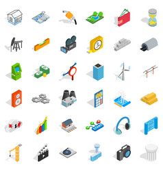 technology icons set isometric style vector image