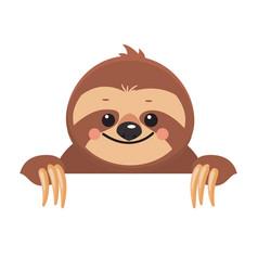 template of cute cartoon smiling joyful sloth vector image