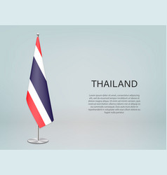 Thailand hanging flag on stand template vector