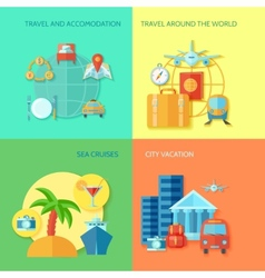 Travel Flat Icon Set vector